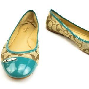 "COACH: Turquoise Leather & ""C"" Logo, Ballet Flats"
